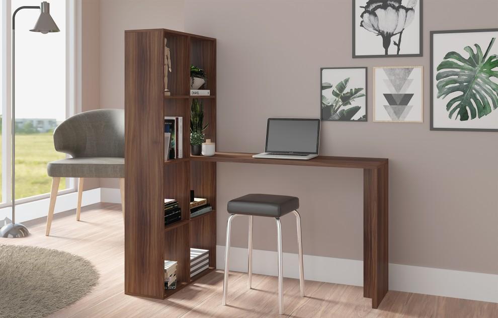 Chester Oak Computer Desk with Tall Shelves