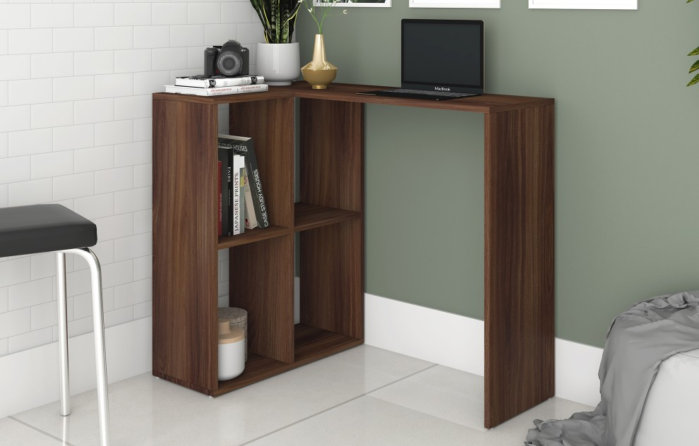 Chester Oak Computer Desk with Shelves