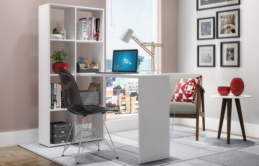 Chester Weißer Schreibtisch mit hohen Regalen