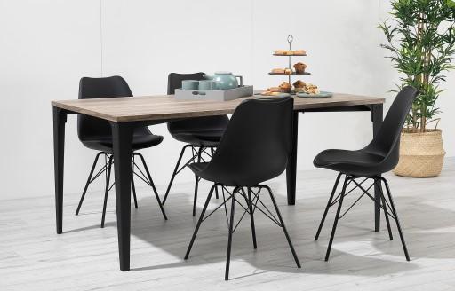 Comfort – Essgruppe – 4 Stühle – Schwarz