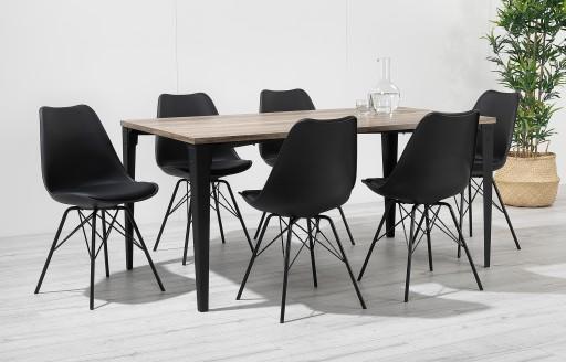 Comfort – Essgruppe – 6 Stühle – Schwarz