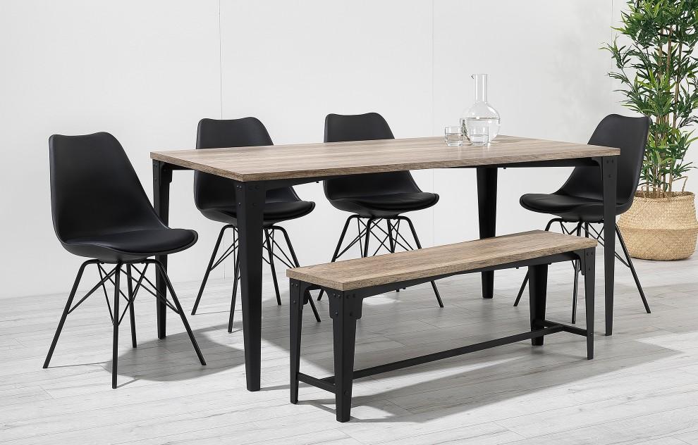 Comfort - Sitzbank-Esszimmergarnitur - 6 Plätze - Schwarz