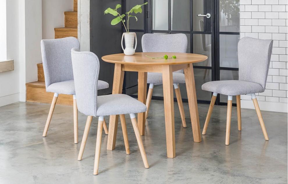Dove - ronde eethoek - 4 zitplaatsen - grijs