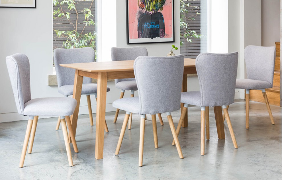 Dove - Dining Set - 6 Seats - Grey