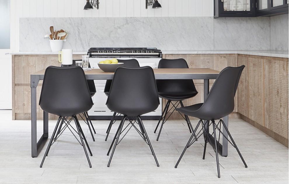 Brunel - industriële eetset - 6 stoelen - zwart
