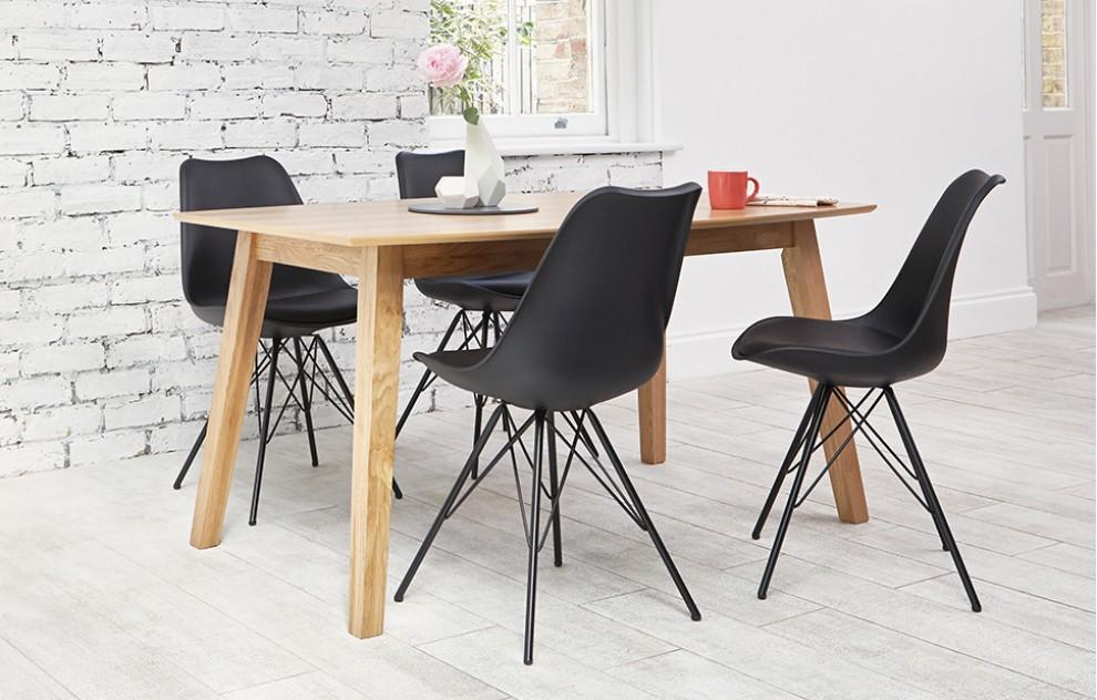 Industrial - eetset - 4 stoelen - zwart