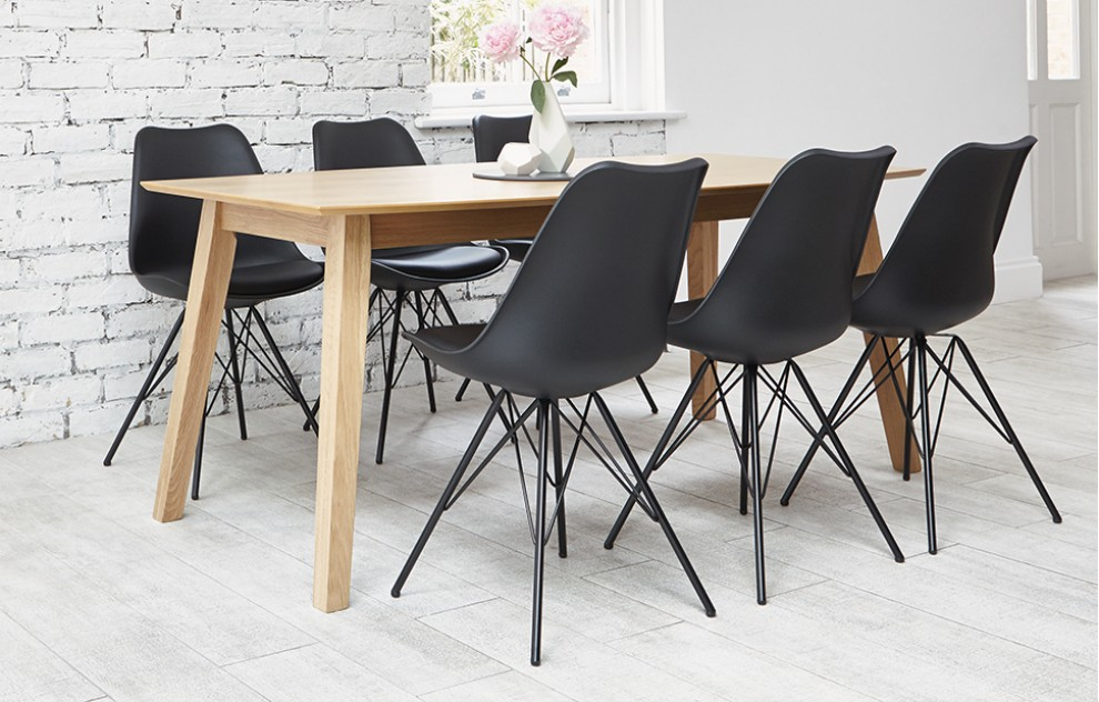 Industrial - Black Dining Set - 6 Seats