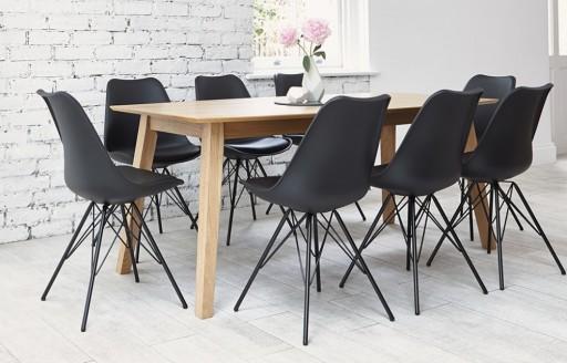 Industriell - Schwarzes Esszimmerset - 8 Stühle