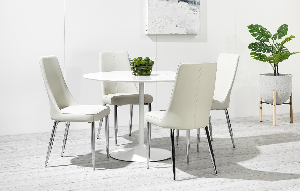 Felicia – High Gloss Round Dining Set - 4 Seats - White