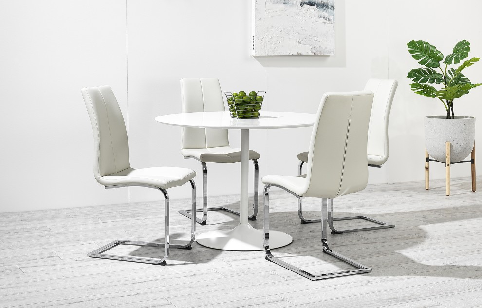 Felicia – High Gloss Round Dining Set Curved Legs - 4 Seats - White