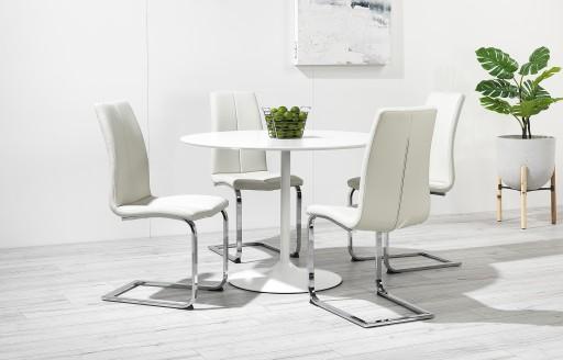 Felicia – Runde Hochglanz-Essgarnitur mit geschwungenen Beinen – 4 Stühle – Weiß