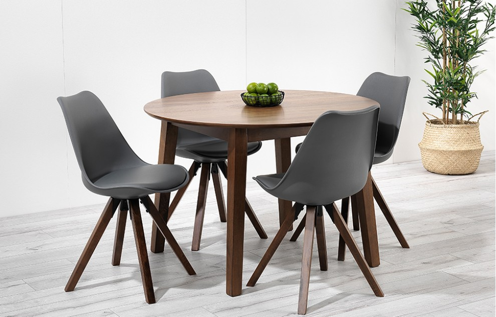 Bojan – Round Walnut Dining Set – 4 Seats - Grey