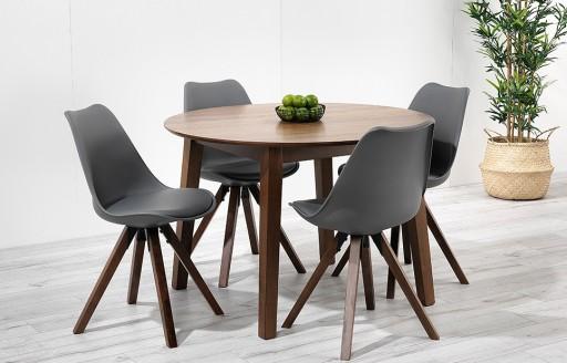 Bojan – Round Walnut Dining Set – 4 Seats - Grey