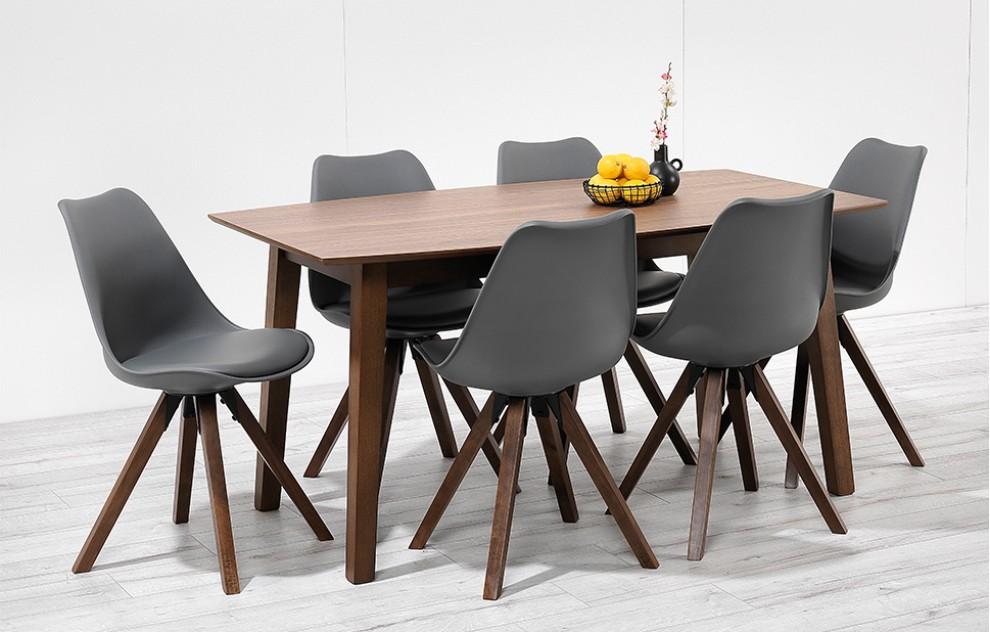 Bojan – 150cm Walnut Dining Set – 6 Seats - Grey