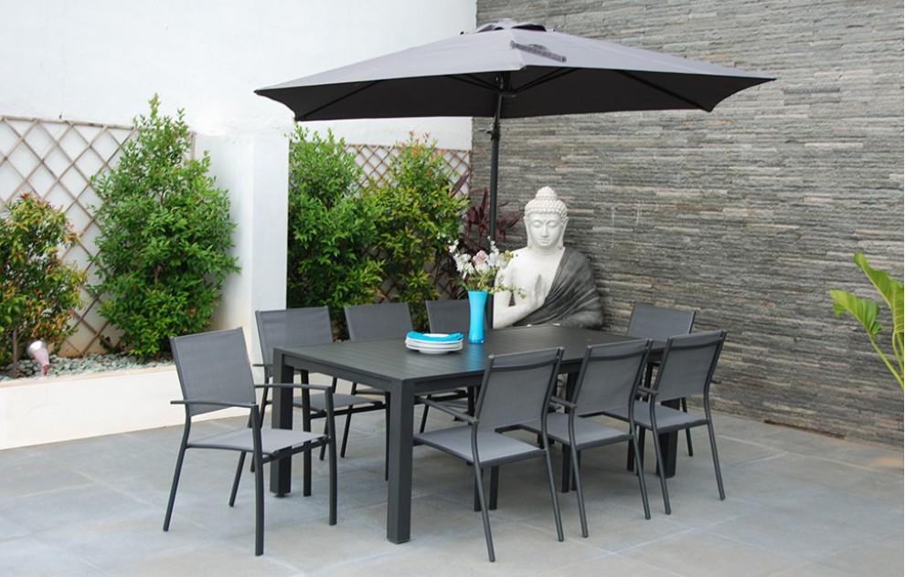 Havanna - Terrassen-Essgarnitur mit Sonnenschirm - 8 Sitzplätze