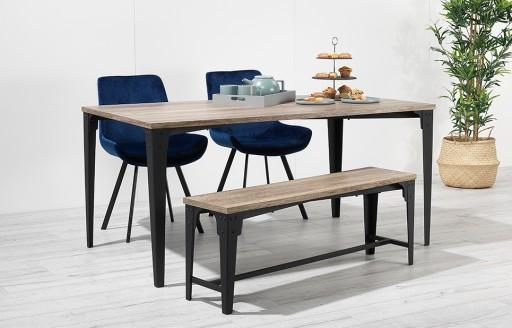 Houston – Bench Dining Set – 4 Seats – Blue Velvet