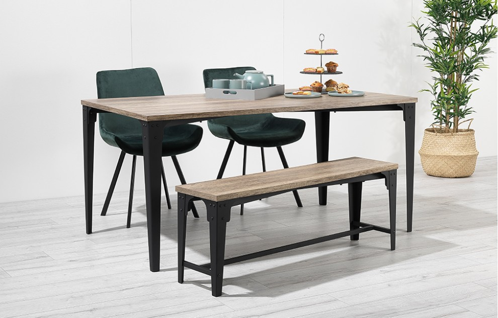 Houston – Bench Dining Set – 4 Seats – Green Velvet