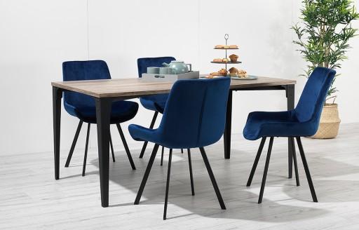 Houston – Dining Set – 4 Seats – Blue Velvet