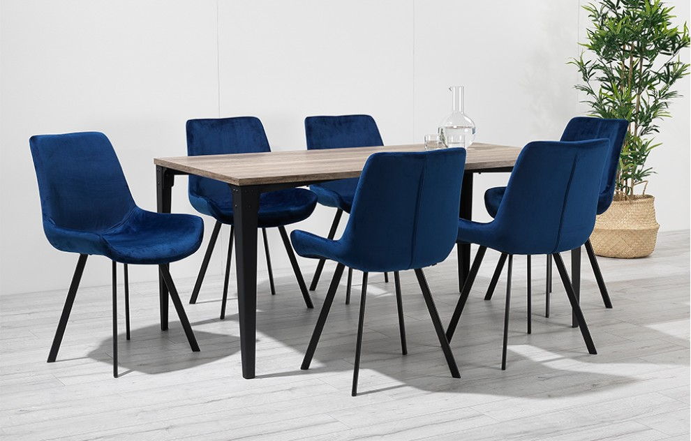 Houston – Dining Set – 6 Seats – Blue Velvet