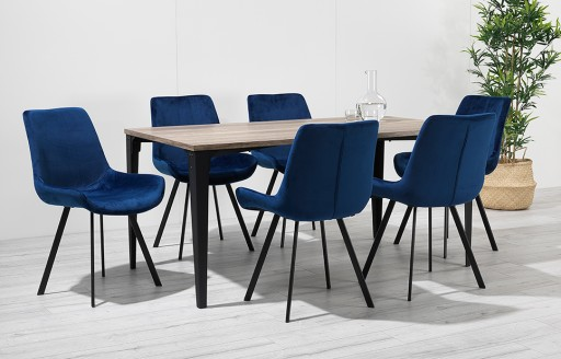 Houston – Dining Set – 6 Seats – Blue Velvet