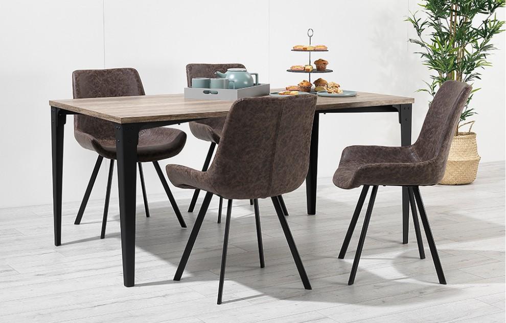 Houston – Esstischgruppe – 4 Stühle – Vintage-Leder – Braun