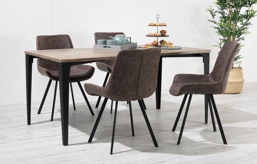 Houston – Dining Set – 4 Seats – Vintage Leather - Brown