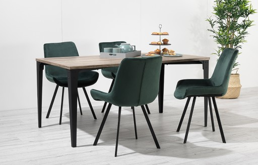 Houston – Dining Set – 4 Seats – Green Velvet