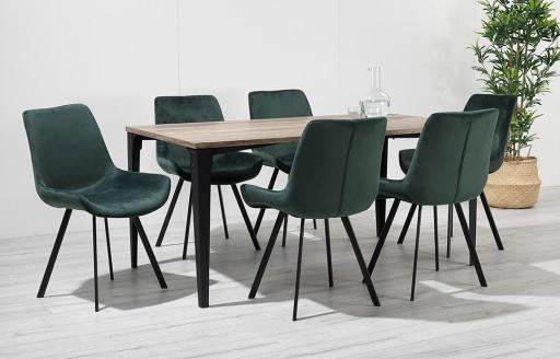 Houston - dinerset - 6 stoelen - groen fluweel