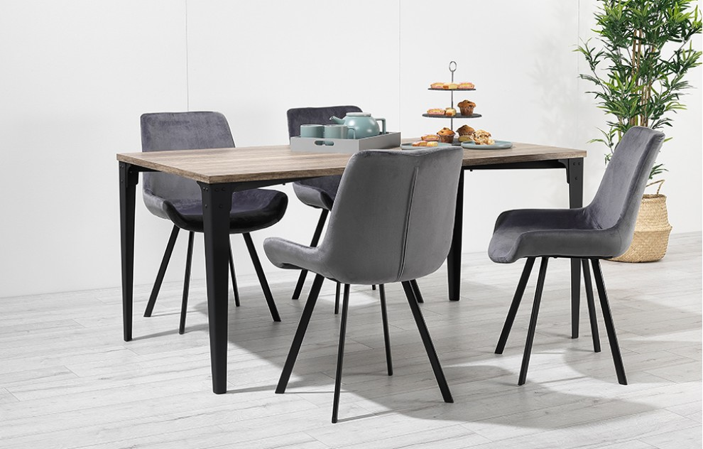 Houston – Dining Set – 4 Seats – Grey Velvet