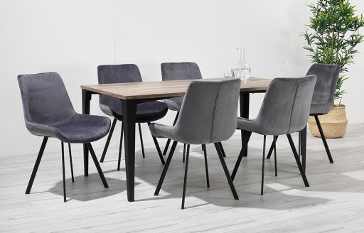 Houston – Dining Set – 6 Seats – Grey Velvet