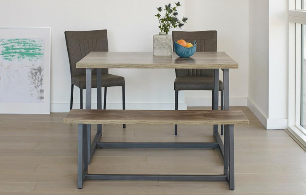 Kora – Bench Dining Set – 4 Seats - Grey