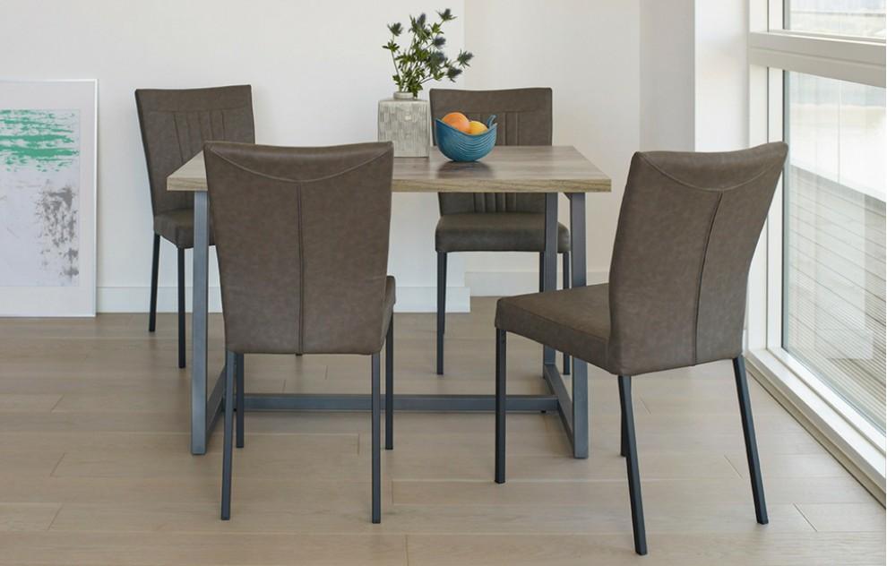 Kora - dinerset - 4 stoelen - grijs