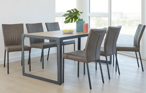 Kora - Eethoek - 6 stoelen - Grijs
