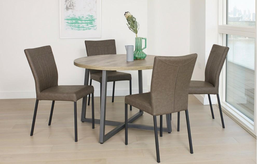 Kora – Runde Tischgruppe – 4 Personen – Grau