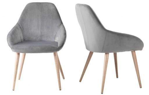 Maison - fluwelen stoel - grijs - set van 2