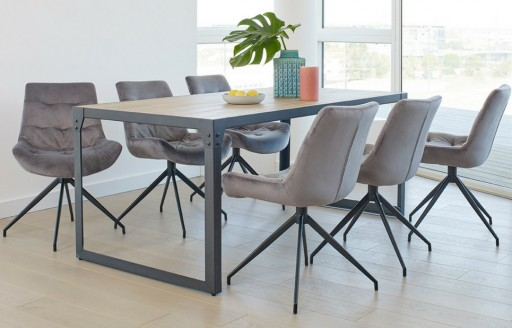 Manhattan – Industrial Dining Set - 6 Seats - Grey