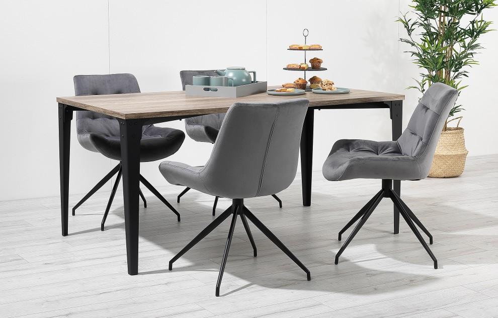 Manhattan - eiken-effect dinerset - 4 stoelen - grijs