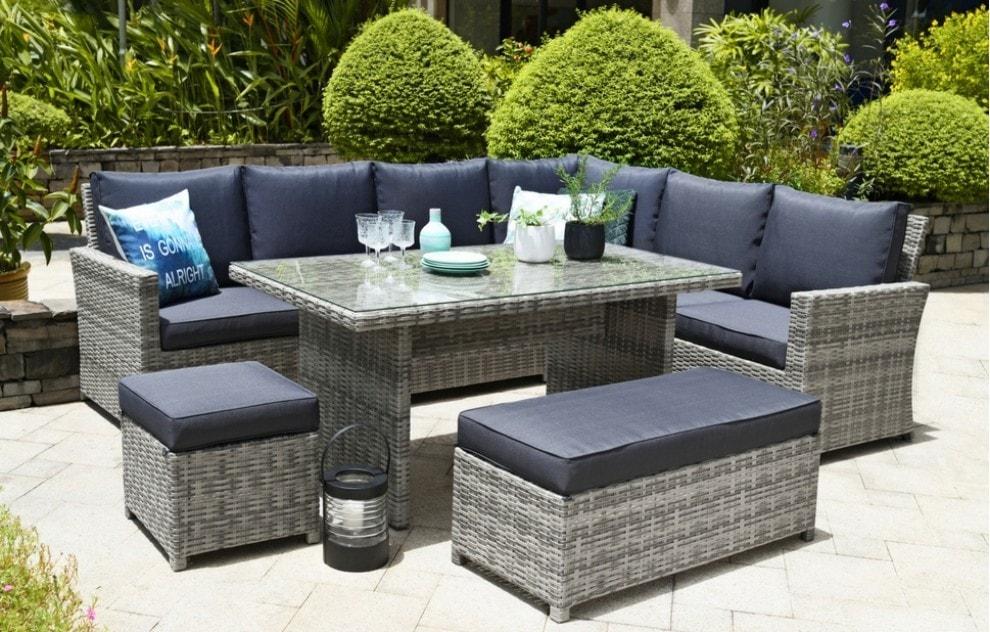Palma – Garten-Loungeset aus Rattan mit Ecksofa – 9 Sitzplätze – Dunkelgrau