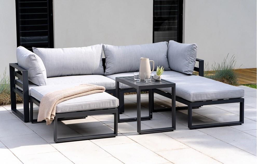 Santorini – Lounge-Set mit Seitenkissen – Grau