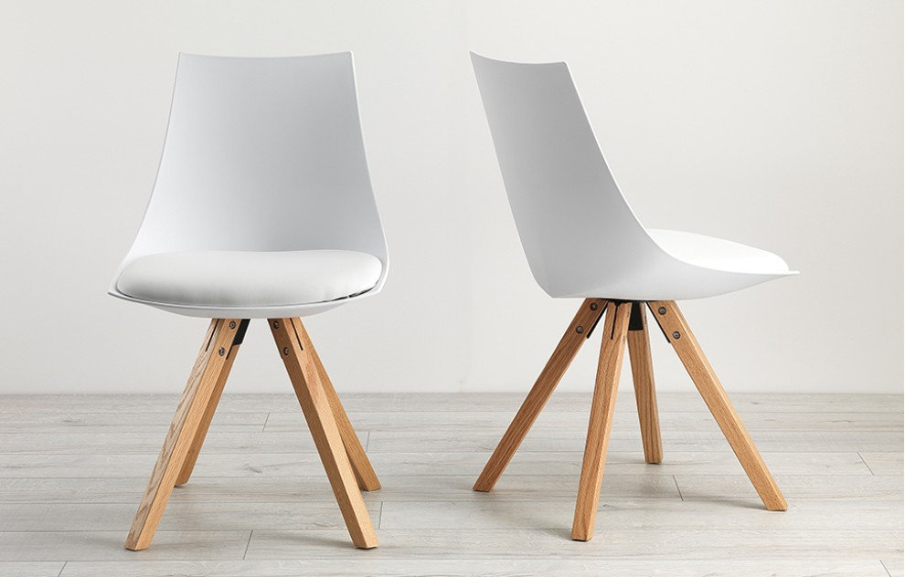 Scoop - Eames Style Chairs - White - Set of 2