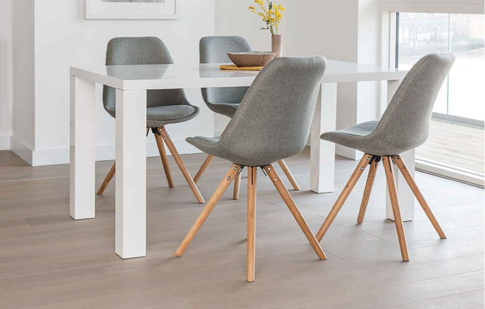 Alexandra - dinerset - 4 stoelen - grijze stof
