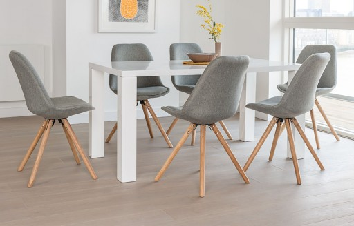 Alexandra - Dining Set - 6 Seats - Grey Fabric