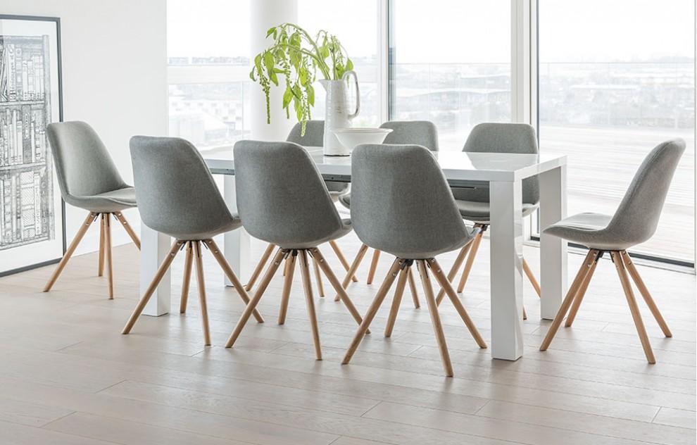 Alexandra - Dining Set - 8 Seats - Grey Fabric