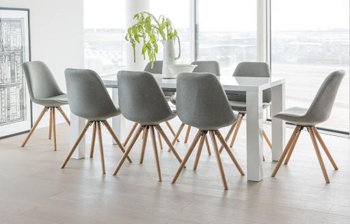 Alexandra – Essgarnitur – 8 Stühle – Grauer Stoff