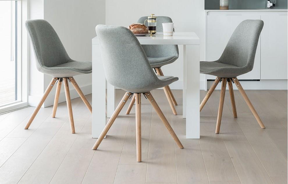 Alexandra - Dining Set - 4 Seats - Grey Fabric
