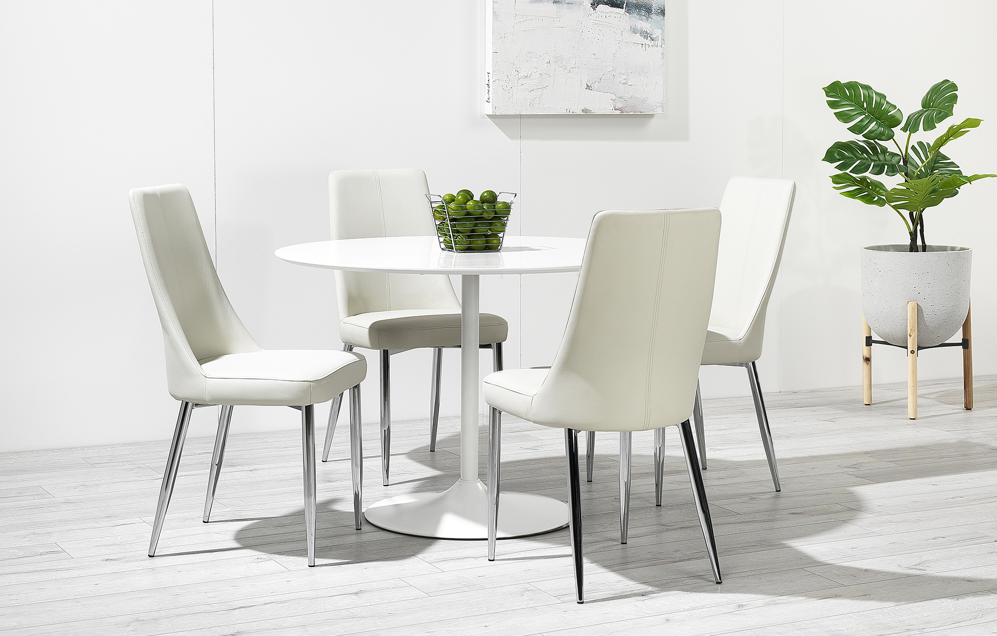 High Gloss Round Table 4 Chairs In White Felicia Dining Set